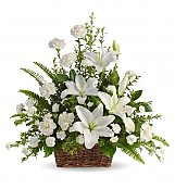 Funeral Flowers: Peaceful White Lilies Basket