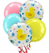 Balloons: New Baby Balloon Bouquet-5 Mylar
