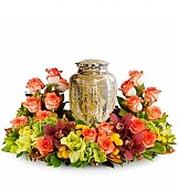 Funeral Flowers: Sunset Sympathy Wreath