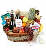 Wine & Fruit Baskets: Gourmet Extravagance Fruit & Wine Basket