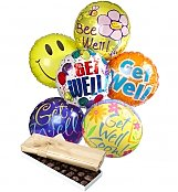 Balloons & Chocolate: Get Well Balloons & Chocolate-6 Mylar