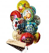 Balloons & Chocolate: Get Well Balloons & Chocolate-12 Mylar
